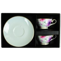 Espresso Cup and Saucer Set in Delicate Flower Design 4 Piece