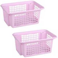 Plastic Stackable Basket Pink