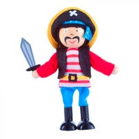Pirate Wooden Bendy Play Figure