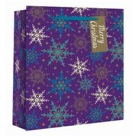 Purple Snowflake Wide Gift Bag