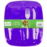 Lunch Box and Cutlery Set Purple