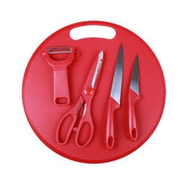 Set of Knives, Scissors and Board Red