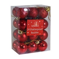 Baubles Shatterproof Traditional Red 24 Pack