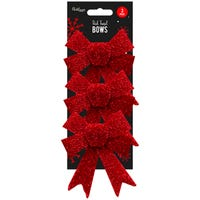Tinsel Bows in Red 3 Pack