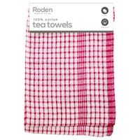 Mono Check Tea Towel Red and White 2 Pack