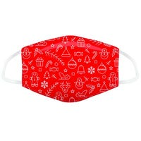 Christmas Reusable Adults Face Covering in Red Icons