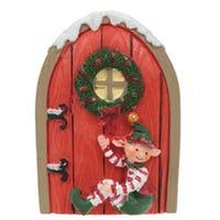 Mini Christmas Elf Door Collectable Red Door Elf Sat Down