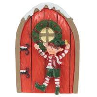 Mini Christmas Elf Door Collectable Red Door Elf Stood Up