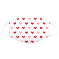 Reusable Face Covering in White with Red Hearts Print