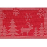 Christmas Jacquard Placemat Reindeer Red