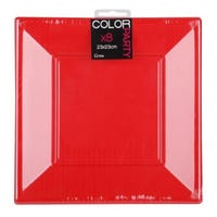 Plastic Square Plate Red 8 Pack