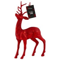 Glittered Stag Decoration in Red