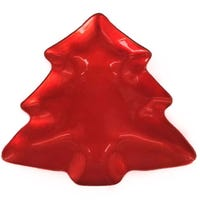 Christmas Tree Shaped Treat Plate Red