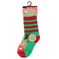 Kids Christmas Novelty Sock Reindeer Face Size 12-3