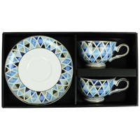 Coffee Cup and Saucer Set in Retro Blue Design 4 Piece