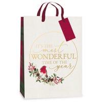 Christmas Robin Tartan Gift Bag in Extra Large