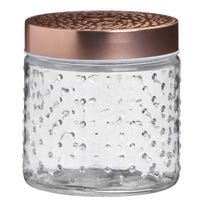Textured Glass Jar with Rose Gold Lid 500ml