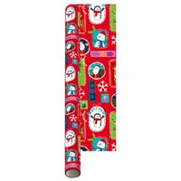 Christmas Gift Wrap Santa and Friends Red 8m