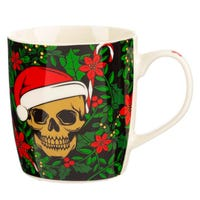 Santa Bones Christmas Skull Porcelain Mug
