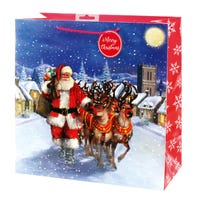 Christmas Traditional Santa Square Large Gift Bag