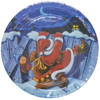 Santa And House Paper Plates 8 Pack