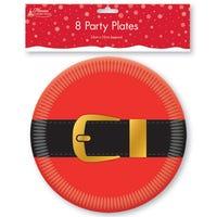 Paper Party Plates Santa Belt 8 Pack