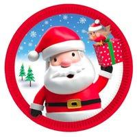 Christmas Santa and Robin Kids Plates 8 Pack