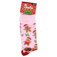 Ladies Novelty Christmas Socks in Gingerbread Design 4-8