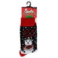 Santa Socks in Let It Snow Ladies Size 4-7
