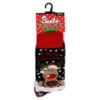 Santa Socks in Merry Christmas Ladies Size 4-7