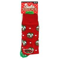 Ladies Novelty Christmas Socks in Pudding Design 4-8