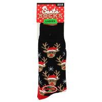 Ladies Novelty Christmas Socks in Reindeer Design 4-8