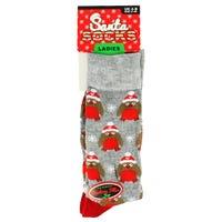 Ladies Novelty Christmas Socks in Robin Design 4-8