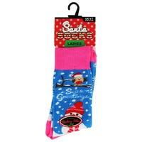 Santa Socks in Seasons Greetings Ladies Size 4-7
