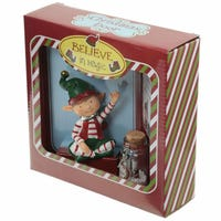 Message to Santa Christmas Elf Figure with Wishes Jar Sat Down Elf
