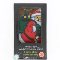 LED Metallic Window Silhouette Santa 10 x 18cm