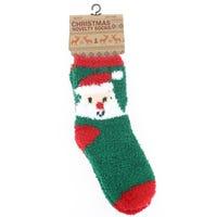 Unisex Terry Towel Socks Green with Santa Design