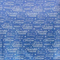Christmas Foil Gift Wrap Blue with Writing 3m