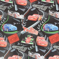 Christmas Gift Wrap Disney Cars Black 6m