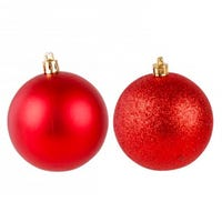 Shining and Glitter Red Bauble 7cm 6 Pack