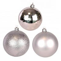 Shining and Matt Silver Baubles 5cm 12 Pack