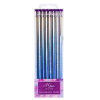 Iridescent Metallic Pencils with Eraser 8 Pack