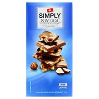 Simply Swiss Milk Chocolate and Whole Hazelnut Bar 100g