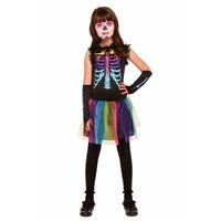 Halloween Multi-Colour Skeleton Costume 10-12 Years