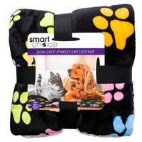 Smart Choice Paw Print Sherpa Pet Blanket 100cm x 70cm