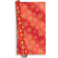Foil Gift Wrap Red and Gold Snowflakes 2m