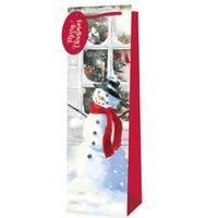Christmas Bottle Bag Traditional Scene Snowman