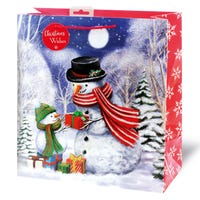 Christmas Traditional Snowman Square Large Gift Bag