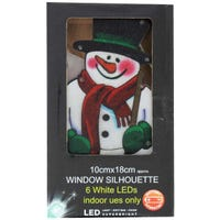 LED Metallic Window Silhouette Snowman 10 x 18cm