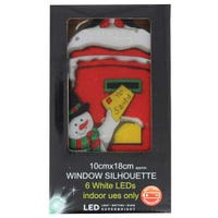 LED Metallic Window Silhouette Snowman And Post Box 10 x 18cm